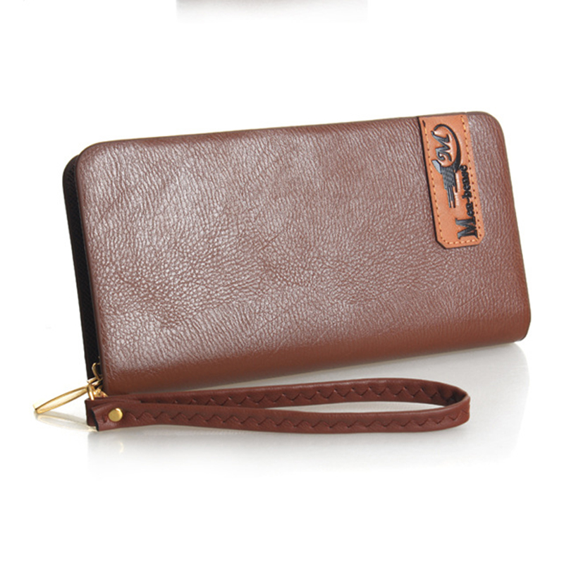 New 2015 PU Leather Male Clutch Bag Long Zipper Men Wallets Clutch Men Purse Business Clutch Wallet Coin Purse Card Holder