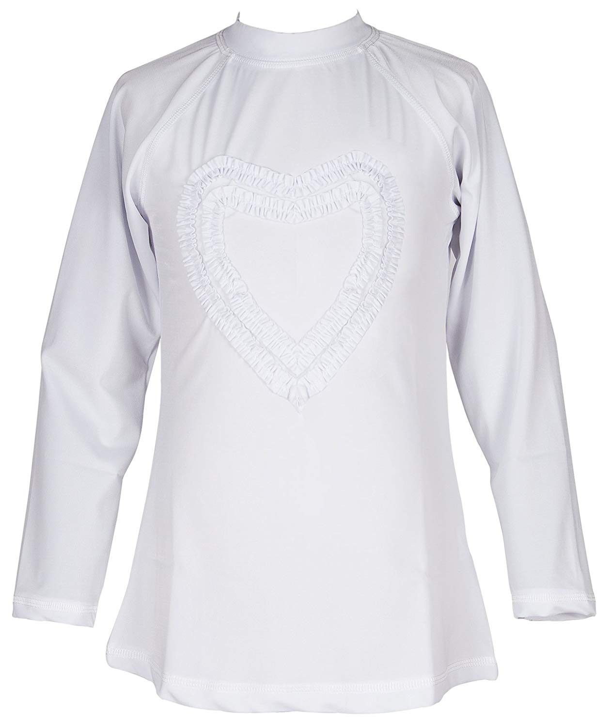 8c1b29785d772 Get Quotations · Girls' Ruffled Valentine Solid Rash Guard Swim Shirts UPF  50+ Sun Protective