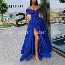 Женское атласное платье для выпускного вечера robe soiree, вечернее платье с v-образным вырезом и разрезом сбоку, модель 2020(Китай)