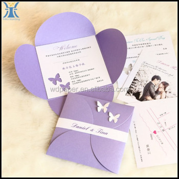 2015 Yiwu Latest Fancy High Quality Purple Folding Flower Shape Cheap Butterfly Wedding Invitations Cards With