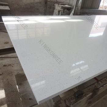 Cut To Size Composite Shiny White Quartz Tiles Floor