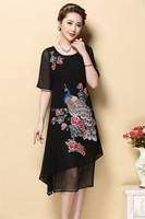 Custom Summer Ladies Clothes Short Sleeve Embroidered Dress for Women