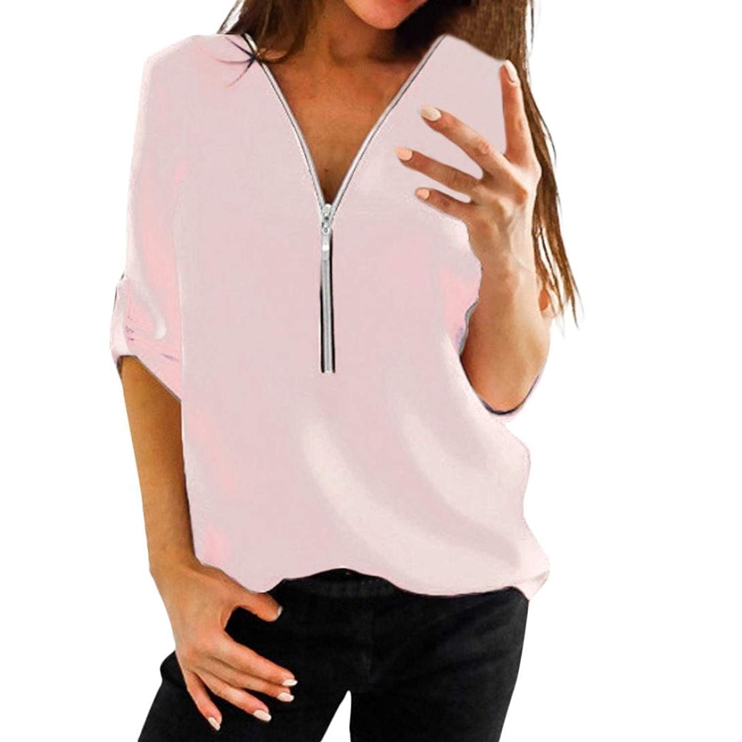 c70434202f60fe Get Quotations · Howstar Casual Women's T-Shirt Long Half Sleeve Blouse for  Work Tops with Zipper Shirts