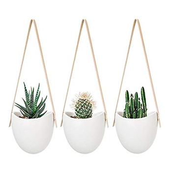 Home decor white rope pot indoor ceramic flower pot hanging wall planter