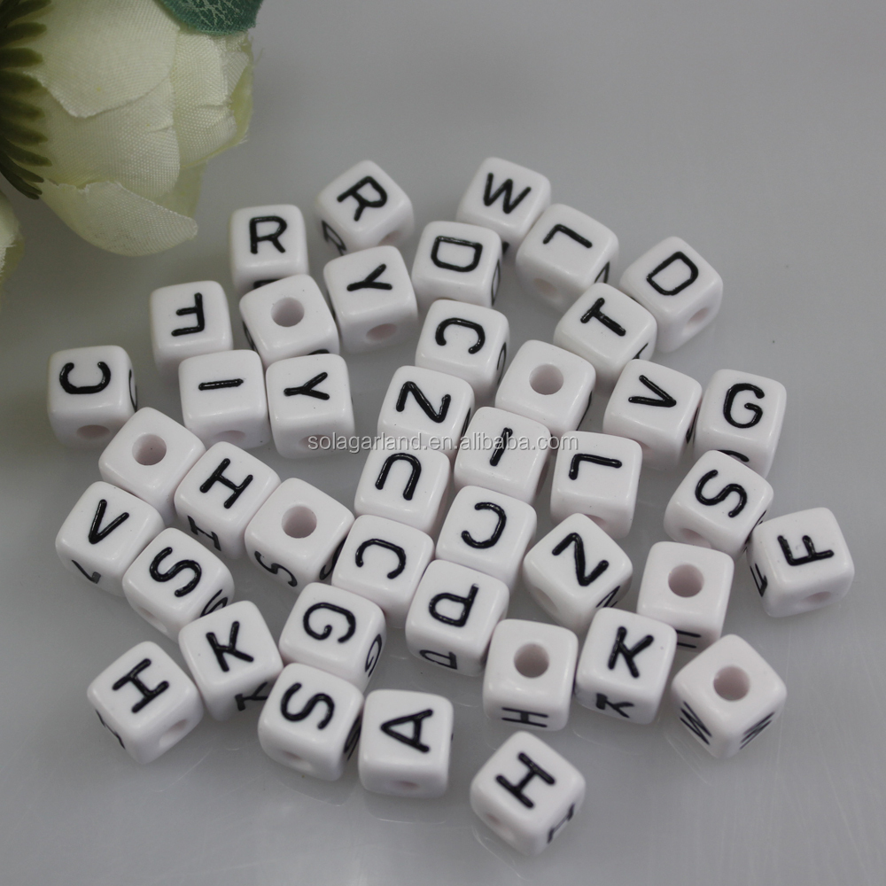 High Quality 10 mm Hand Make Square Alphabet Bead, Big Hole Acrylic Cube Letter Beads For Kids DIY Craft
