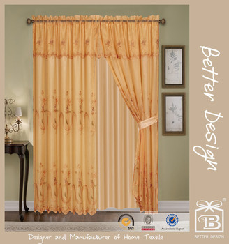 4 Pcs Elegant Luxury Living Room Valance Window Curtains With Sheer