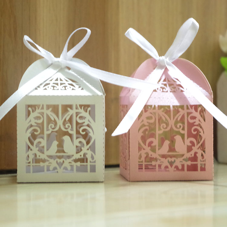 Most sold laser cut love birds wedding favors paper sweet box