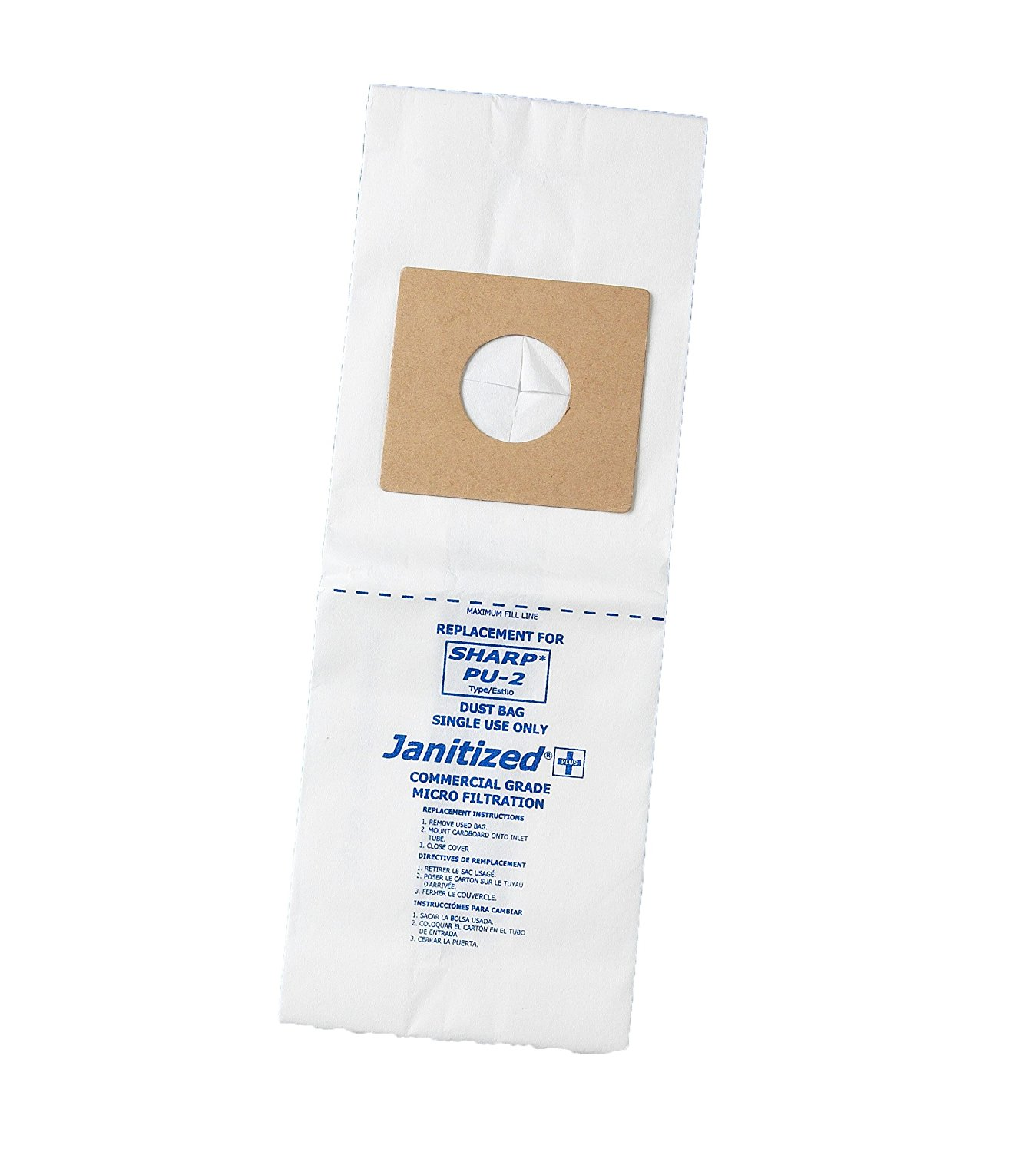 Janitized JAN-SHPU2-2(3) Premium Replacement Commercial Vacuum Paper Bag for Sharp Upright Type PU-2 Vacuum Cleaners, OEM#PU-2 (Pack of 3)