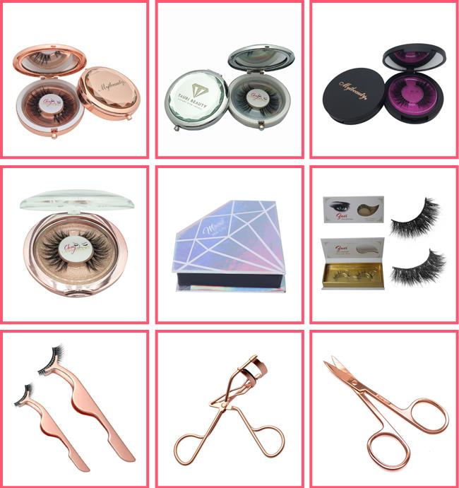 Custom Made Wholesale Mirror Premium Clear Round Luxury Rose Gold Unique Mink Circle Empty Round Custom Eyelash Packaging