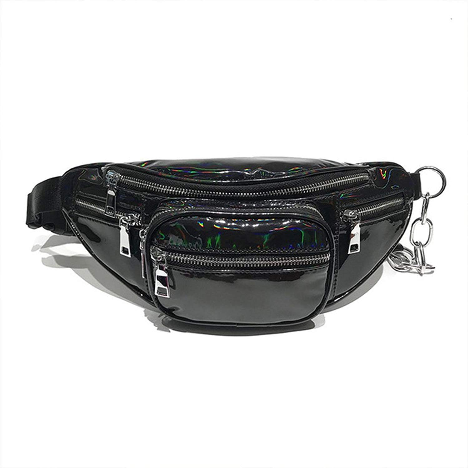 Fanny Pack PU Leather Hip Waist Pouch Festival Rave Holographic Waist Bags Travel Hiking GYM