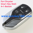 New Keyless 5-Button Entry Fob Remote Key Case Shell Fits for Chrysler Dodge Jeep with uncut small key blade With logo