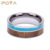 POYA Jewelry Tungsten Ring Inlaid with Koa Wood and Solid Turquoise Extremely Unique 8mm Engagement Wedding band