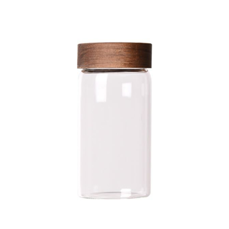 335ml cylindrical glass flower tea canister jar with wooden cap