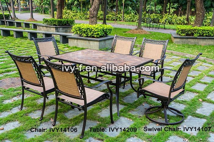 Salon de jardin 6 seating rectangulaire table manger et chaises en fonte d 39 aluminium cadre - Salon de jardin fonte aluminium ...