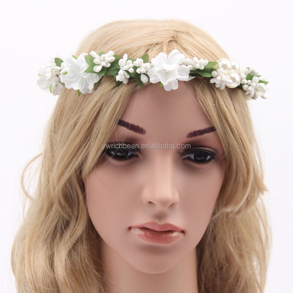 Daisy Flower Headband Flower Garland Tiara Wedding Crown With