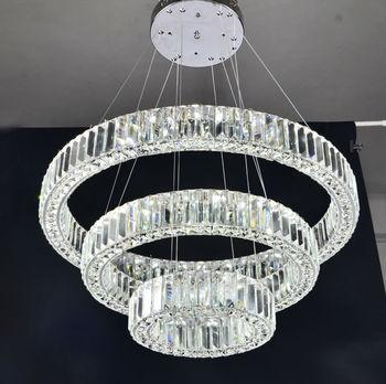 Three rings modern luxury crystal chandelier led lighting for Lampadari a led