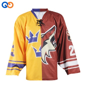 1a0284ec4 Youth gaolie cut ice hockey wear custom half and half jerseys China ...