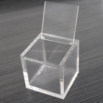 Tiny Cube Box Acrylic Custom Display Box With Hinged Lid Buy