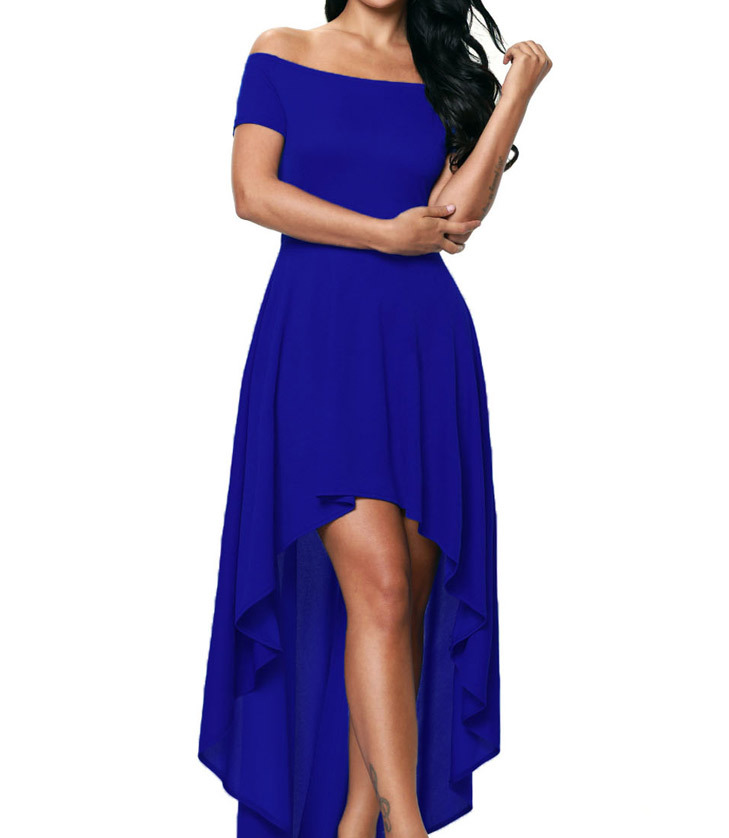 woman party blue rushed ruffle maxi dress