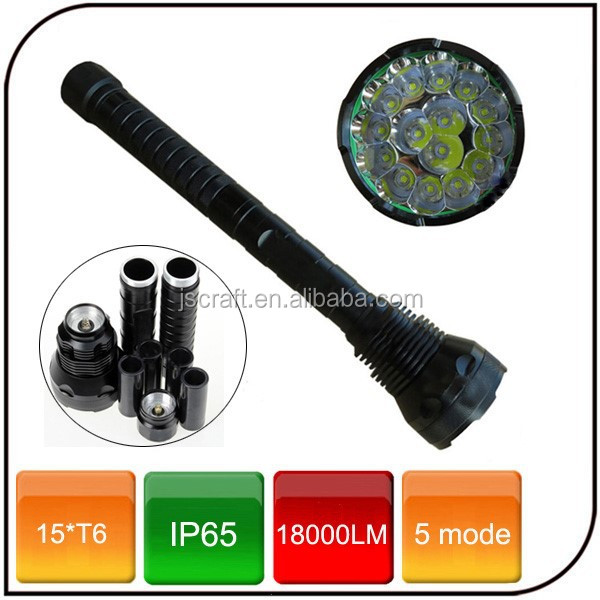 Waterproof 18000lumen Powered by 18650 or 26650 rechargeable battery 5 mode 15*T6 Tactical led flashlight for Ultrafire