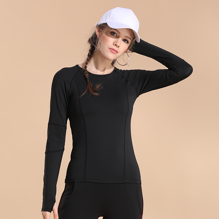 2019Women Yoga  Custom Running Round Neck Long Sleeved T Shirt Sports Top