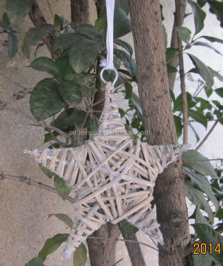 Hanging willow star Rustic home decorative for Garen Christmas wall Grey color