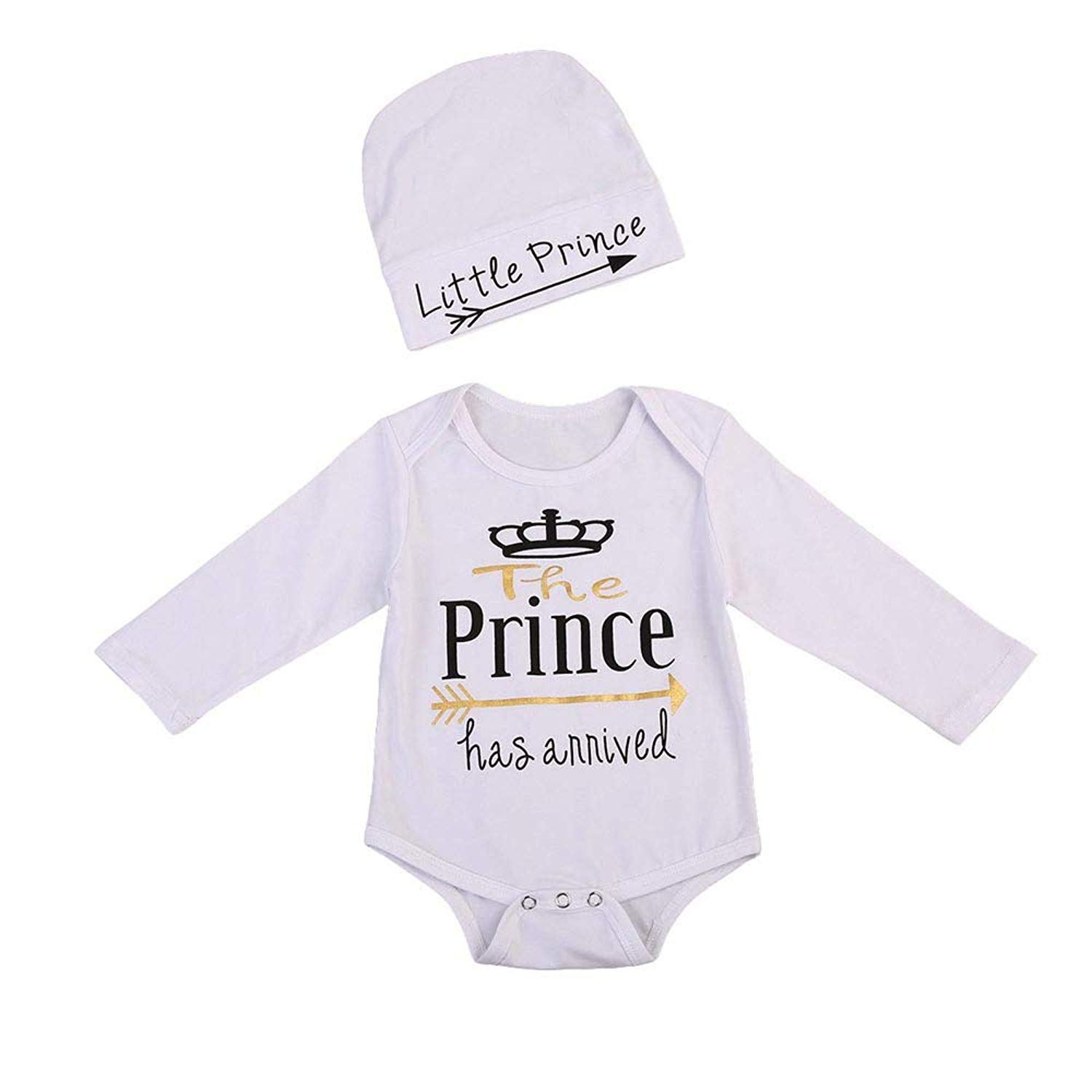 67fa6f5526ae Newborn Baby Boys Girls Long Sleeve Letter Print Romper Top+Hat Pajamas  Home Sleep Wear