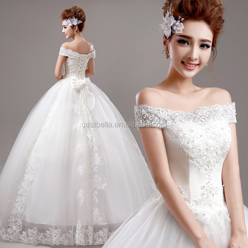 2016 white Elegant off shoulder lace ball gown wedding dress for bridal