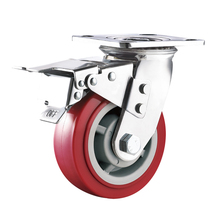 Heavy duty PU caster wheel with total brake and lock