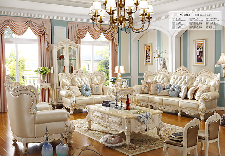 Furniture living room classical fabric solid wood sofa