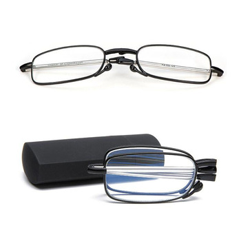 Best Sale Metal Mini folding Reading Glasses Anti Blue Light Block computer Pocket reading glasses with case PT003 in stock