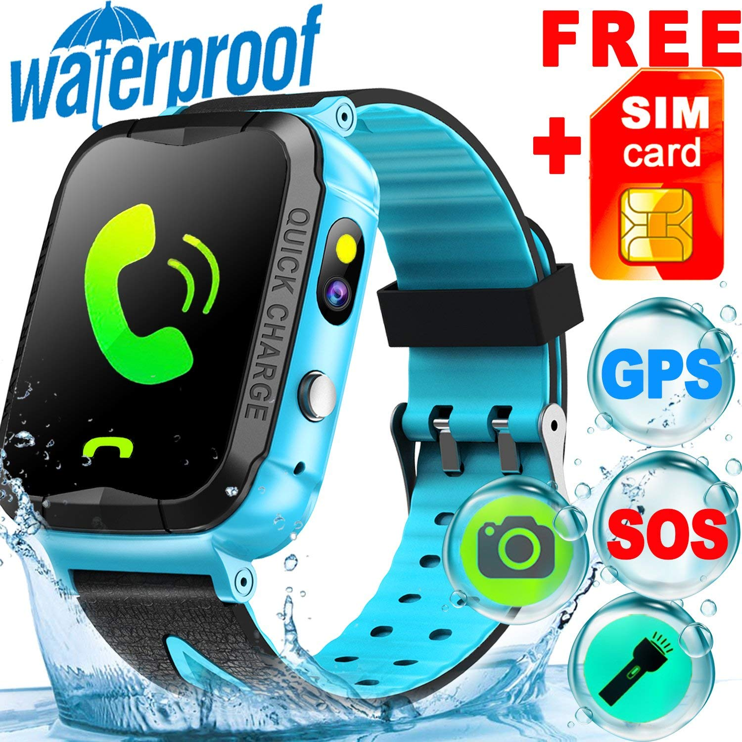 077513c40 Get Quotations ·  SIM CARD Included  IP68 Waterproof Kid Smart Watch Phone  GPS Tracker for Girls Boys