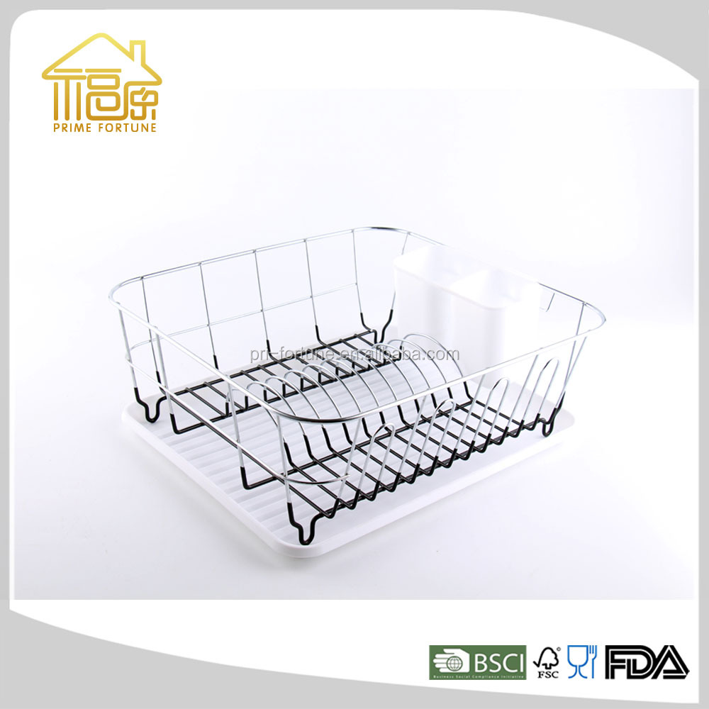 Manufacturer Metal Wire Dish Rack Plate Rack with Plastic Tray