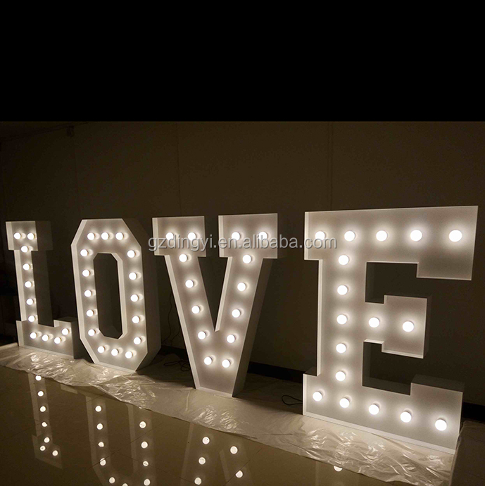 custom made decorative bulb light love letters signs metal iron marquee light letters large for wedding