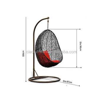 Egg Shaped Swing Rattan Hanging Chair With Stand