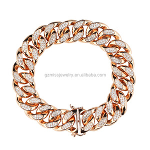 8in 12mm Iced out micro cz stone heavy 18k gold hand chain bracelet jewellery designs