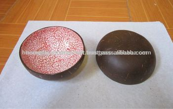 Pale Pink Eggshell Inlay Coconut Bowl, Handmade Vietnamese Lacquer Coconut  Shell Bowls