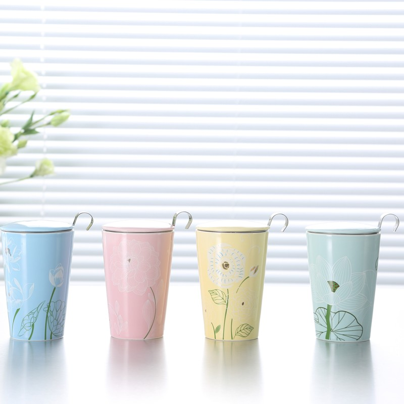 loose tea infuser ceramic mug modern cute fancy funny of decal printing ceremic cups coffe coffee cup