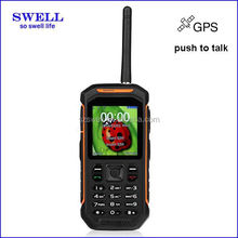 Outdoor used dual sim GSM tri-proof cellphone IP67 SOS GPS with walike talkie X6