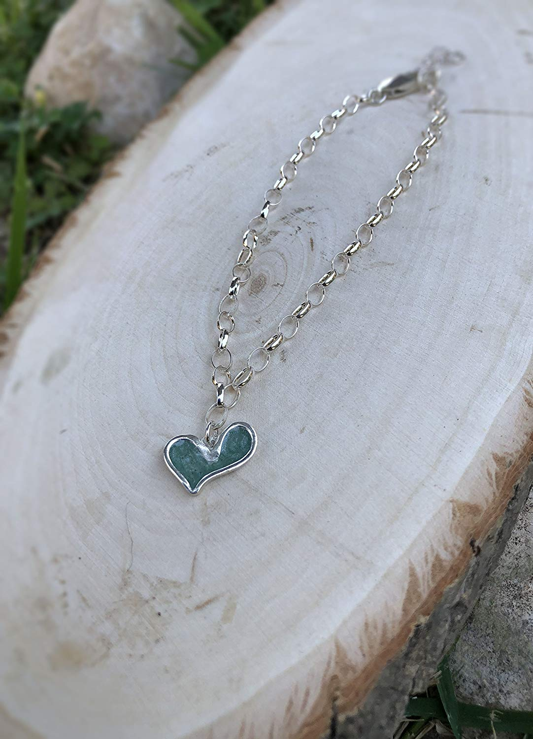 19c32b5acc Get Quotations · Sterling Silver Anklet, Turquoise Cute Heart Charm, Unique  Boho Jewelry