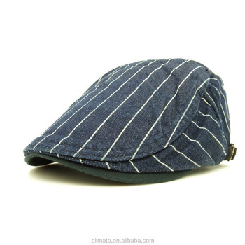 b12dd2e02b197 CLIMATE wholesale custom french stripe beret cap cotton demin painter  newsboy cap and hats foe men