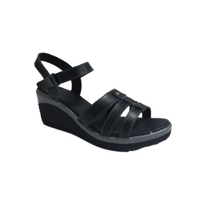 New style black pu sole wedge low price ladies sandals