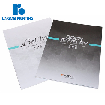 High quality book printing serviceGood quality glossy lamination a4 full color pefect binding jewelry catalog