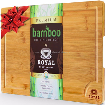 EXTRA LARGE Organic Bamboo Cutting Board with Juice Groove - Best Kitchen Chopping Board for Meat (Butcher Block) Cheese and Veg