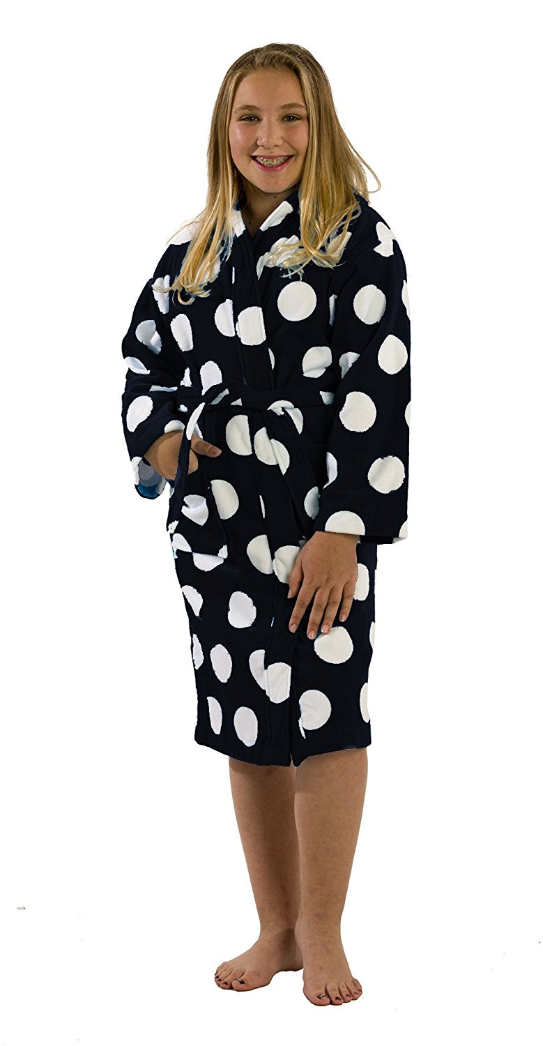 cceba6f512a62 Get Quotations · Polka Dot Terry Cloth Cotton Hooded robes bathrobes for  girls