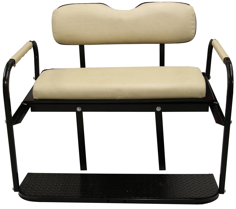 """Club Car Precedent 2004-UP Golf Cart """"All American"""" Rear Flip Back Seat Kit - Buff Cushions - High Density Polyethylene Deck"""