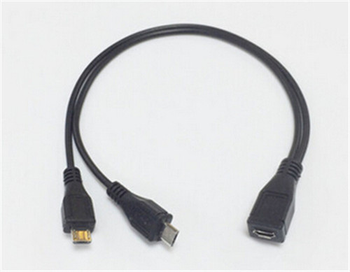 10cm Black Micro Usb Female To Double Micro Usb Y Male Cable Black ...