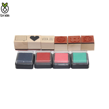Wholesale Wood Rubber Ink Pad Kids Toy Stamp Drawing Set for Kids