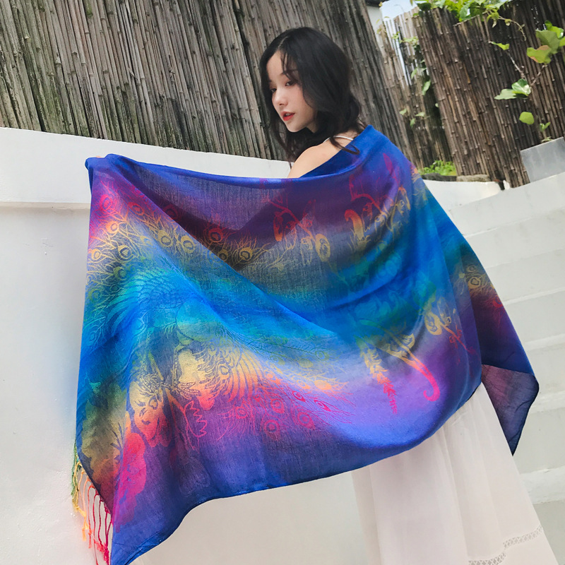 Color gradient peacock lady bohemian scarf shawl jacquard scarf wholesale