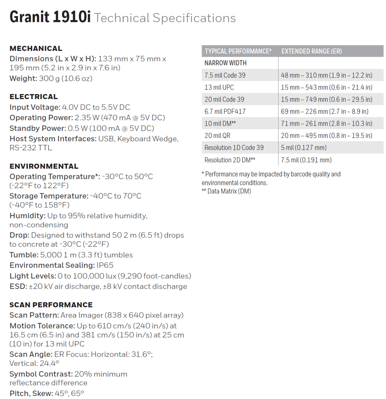 Honeywell Granit 1910i & 1911i Industrial Barcode Scanners - Buy Outdoor  Barcode Scanner,Honeywell Barcode Scanner,Industrial Barcode Scanners  Product